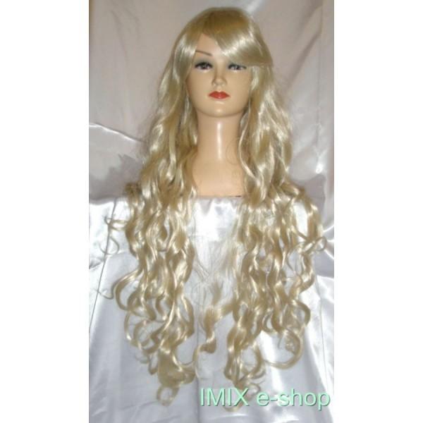 Paruka s extra dlouhými blond vlnitými vlasy