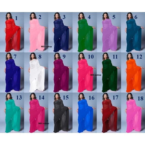 Jednobarevné sárí - mnoho barev