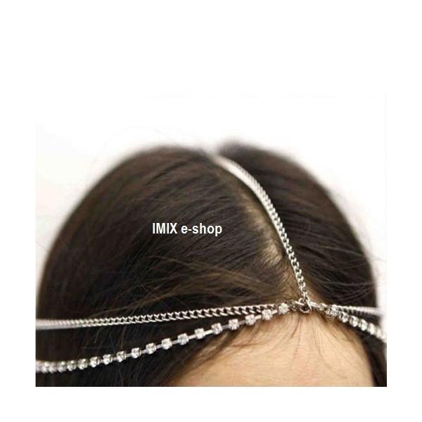 Řetízková čelenka kolem hlavy štras