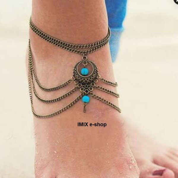 Barefoot řetízkový náramek s ozdobou - multifunkční