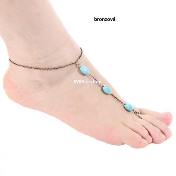 Barefoot náramek na nohu s kamínky