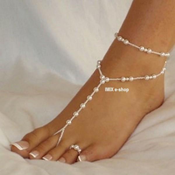 Perlový náramek na nohu s prstýnkem