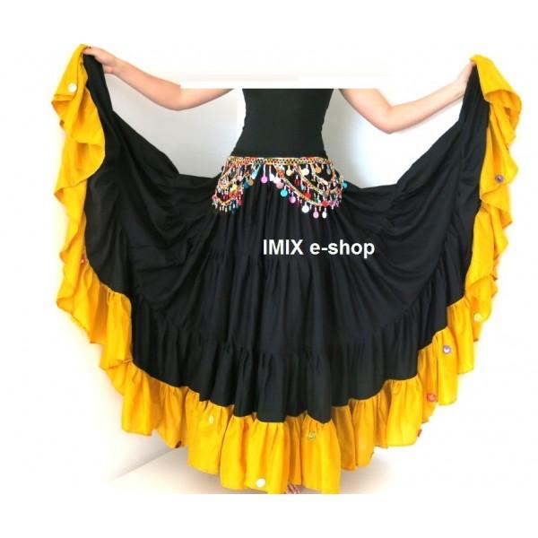 Hedvábná MALAI sukně se zrcátky 22 metrů