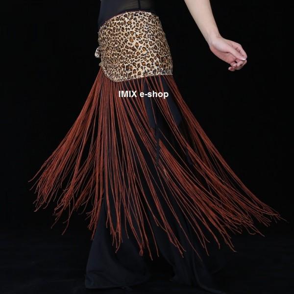 Šátek s dlouhými třásněmi leopardí motiv