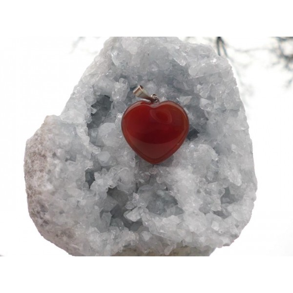 KARNEOL přívěšek - srdíčko 20 mm