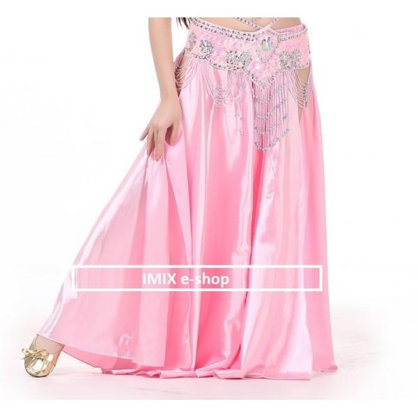 Saténová sukně HASSIBA jednobarevná - S ROZPARKY