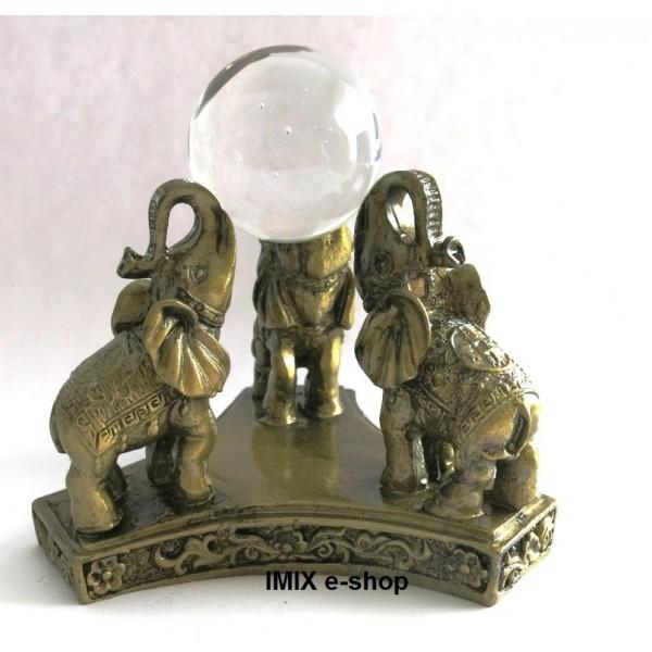 Tři sloni štěstí s perlou - soška Feng Shui
