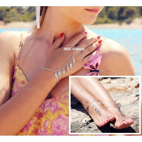 Hippies náramek na ruku či nohu s prstýnkem