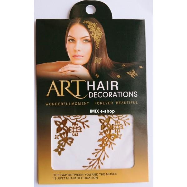 Nálepka do vlasů zlaté květiny