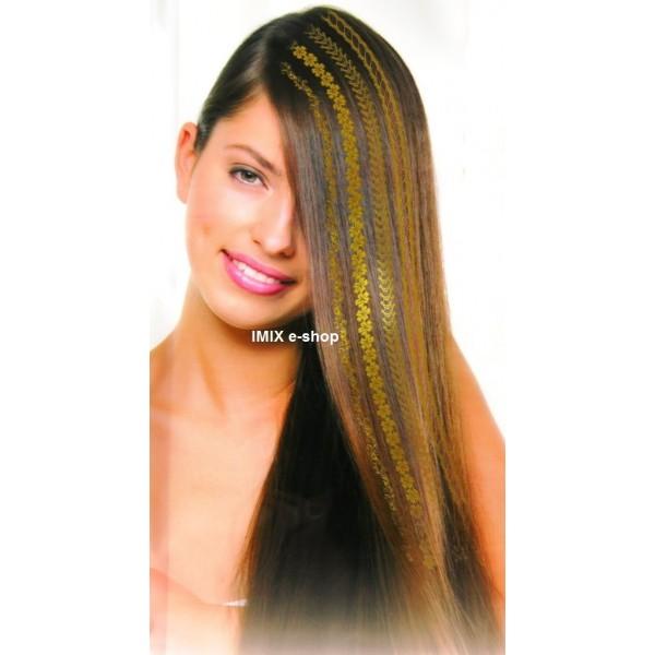 Nálepka do vlasů dlouhé zlaté pruhy