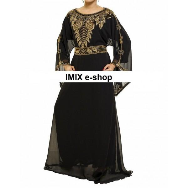 Orientální šaty Abaya černé s výšivkou