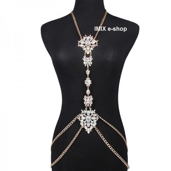 Štrasový náhrdelník přes celý trup s duhovými kameny