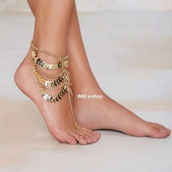 Zlatý náramek na nohu