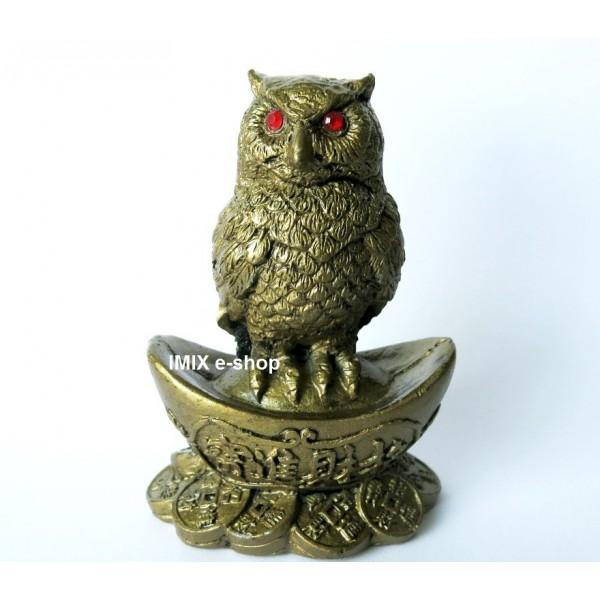 Soška Feng Shui velká sova strážící poklad