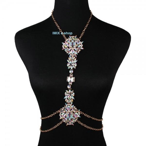 Štrasový náhrdelník přes trup s duhovými kameny