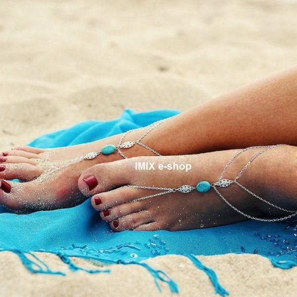 Barefoot náramek na kotník s tyrkysovým kamenem