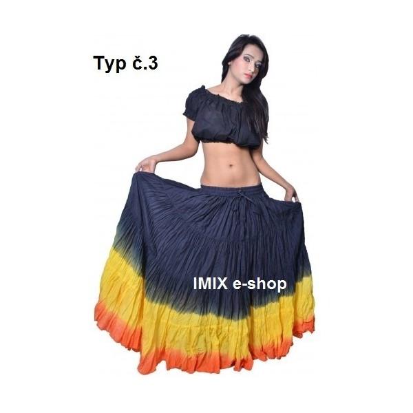 Široké sukně TRIBAL batika - obvod 10 metrů