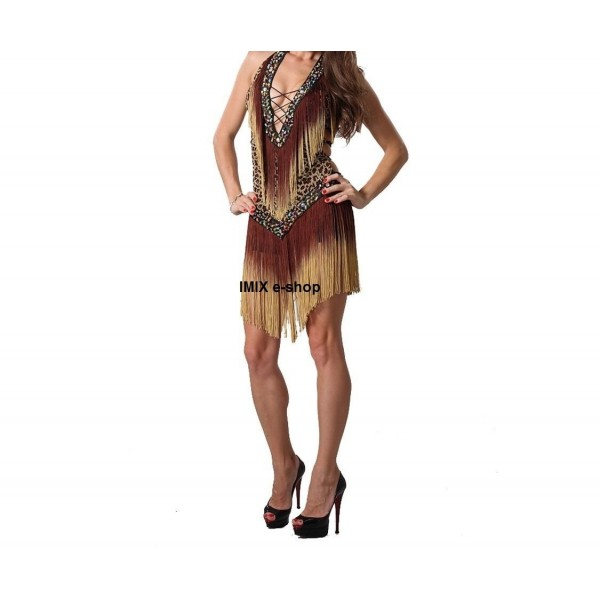 Třásňové sexy taneční šaty leopardí