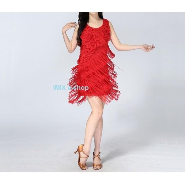 Třásňové taneční šaty s květy Camelia