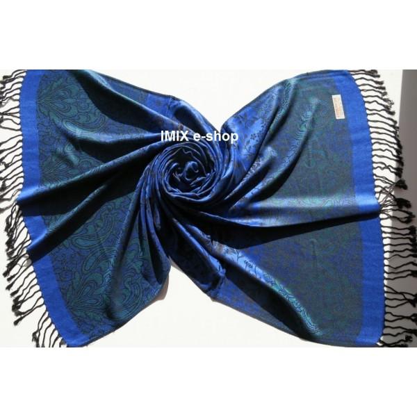 Hřejivá šála s orientálním vzorem Královsky modrá