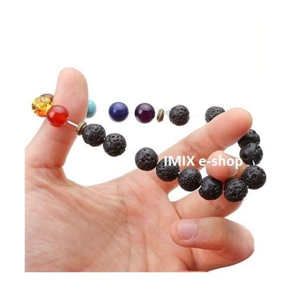 Lávový náramek s broušenými čakrovými kameny+pytlíček
