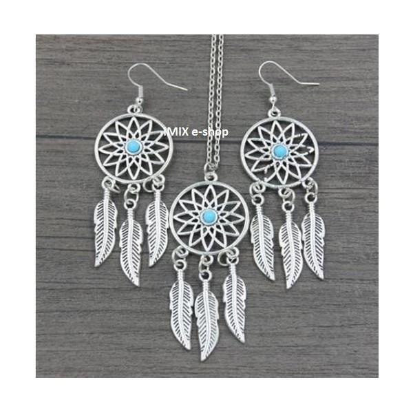 Hippies náhrdelník s náušnicemi