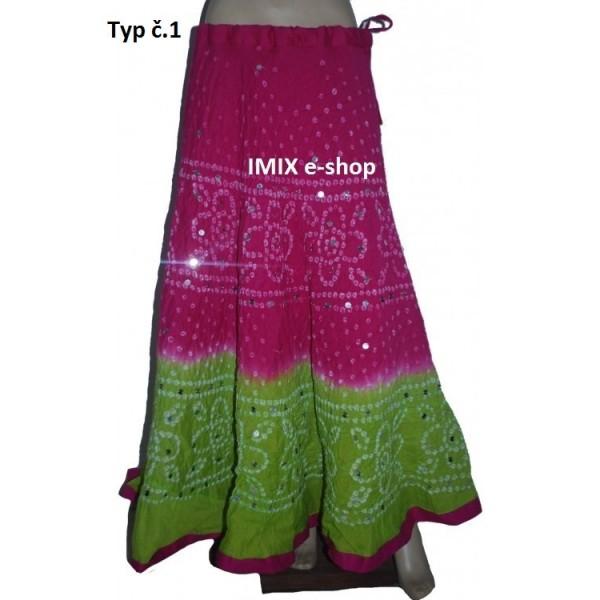 Indické vyšívané sukně dvoubarevné s lesklými flitry