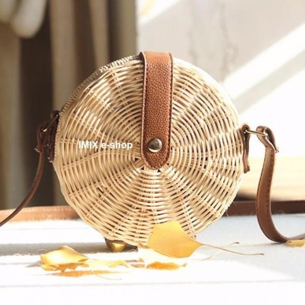 Kulatá ratanová kabelka přírodní malá