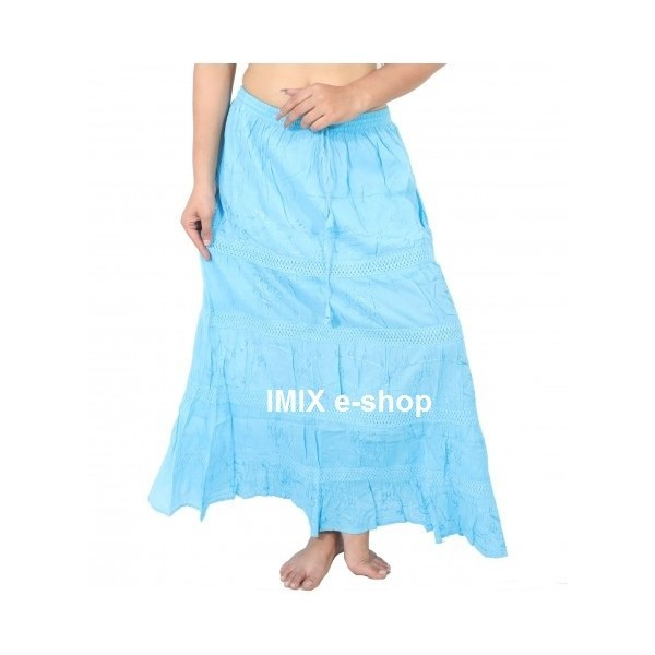Dlouhé vyšívané letní sukně s háčkováním