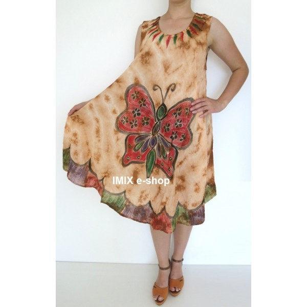 Letní batikované, malované a vyšívané šaty Motýl