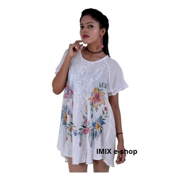 Bílá dlouhá halenka s malovanými květy a výšivkou