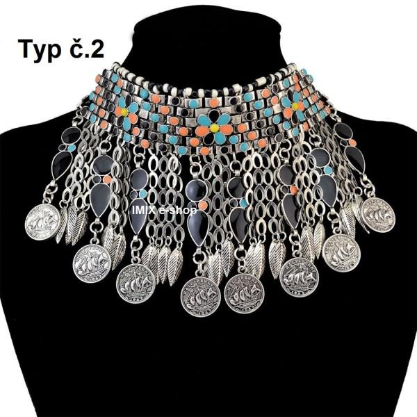 Egyptský kovový Tribal náhrdelník
