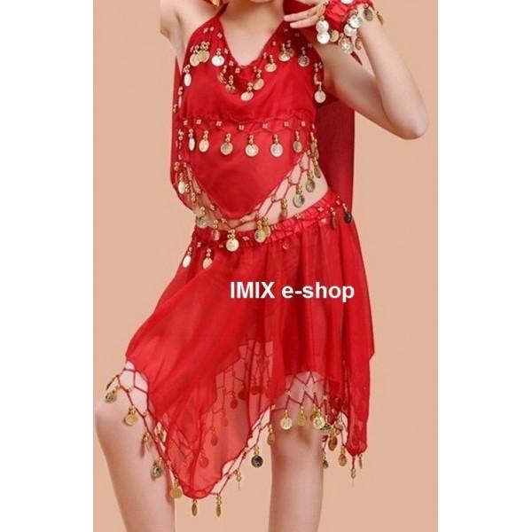 Dívčí taneční kostým se sukýnkou na břišní tance