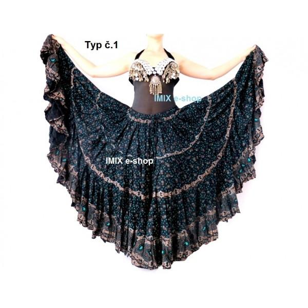Bavlněná široká sukně Gypsy Etnic 23 metrů - 30 BAREV
