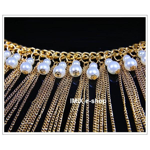 Kovový pás zlatý s perlami a třásněmi
