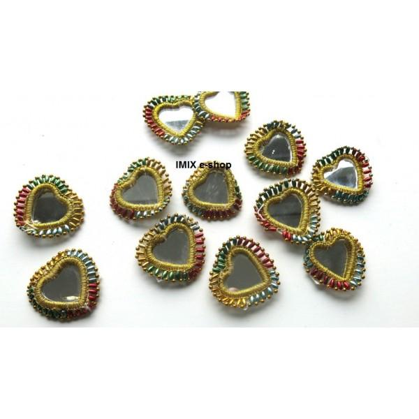 Tribal velká zrcátka na našití zdobená ve tvaru srdce
