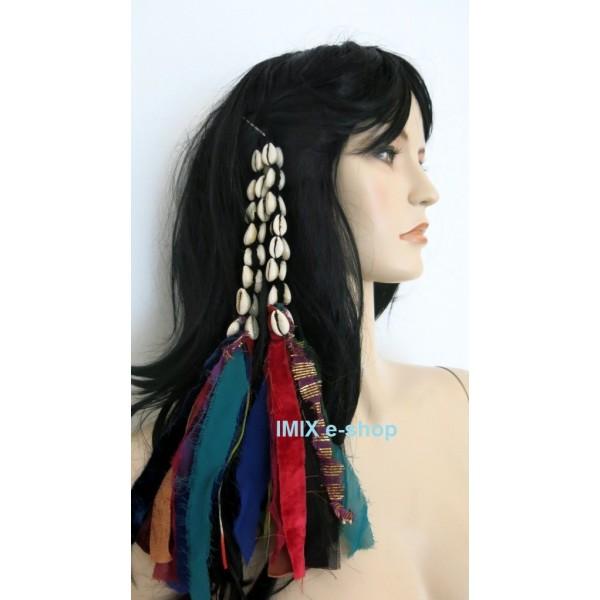 Tribal třásně do vlasů s mušlemi
