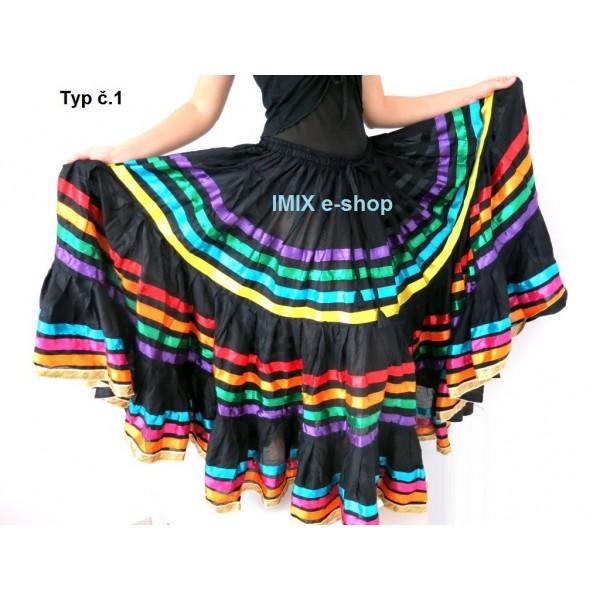 Džajpur originál sukně černá s barevnými stuhy