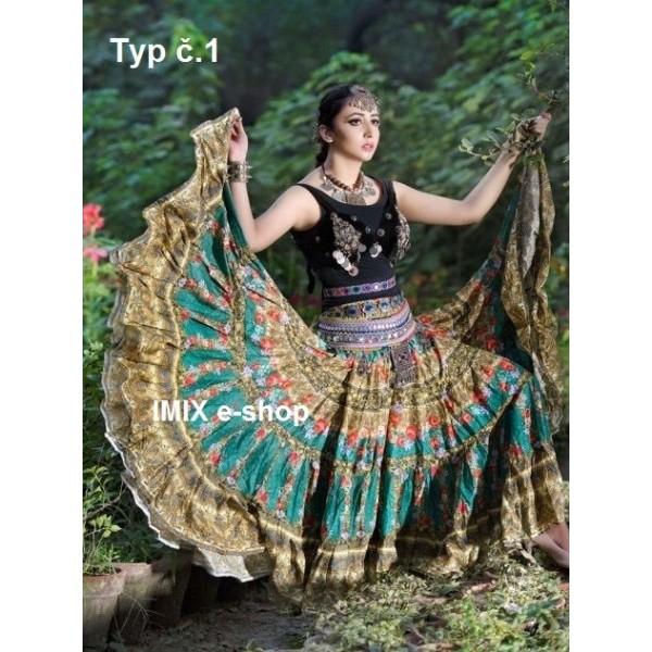 Exotické profi bavlněné Tribal Gypsy sukně 23 metrů - 50 barev