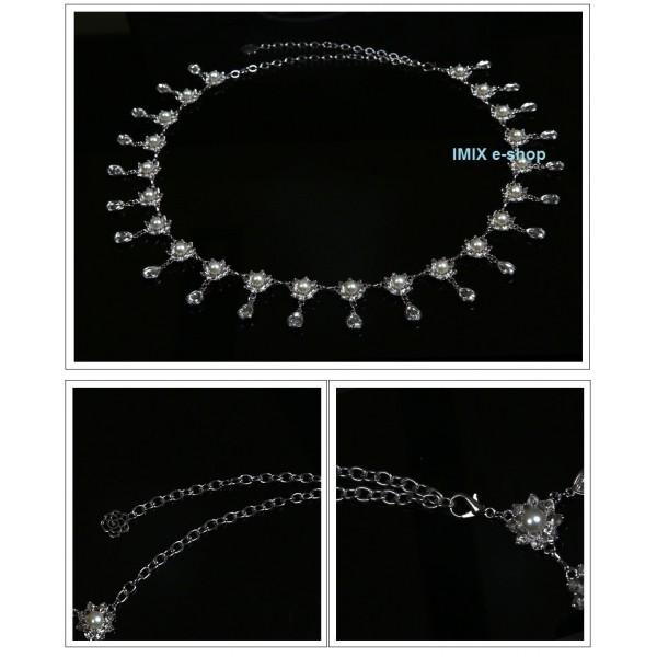 Štrasový kovový pás lotosy s perlou