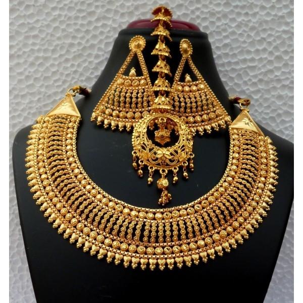 Zlatý indický náhrdelníkový Bollywood set