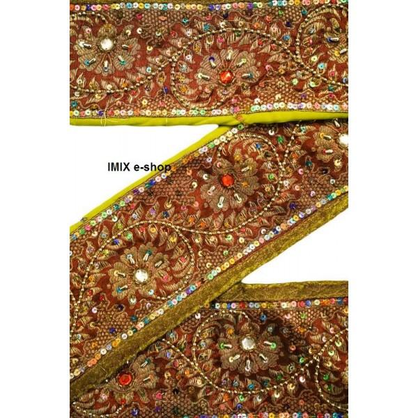 Vyšívaná borta, indický pás zdobený korálky č.07