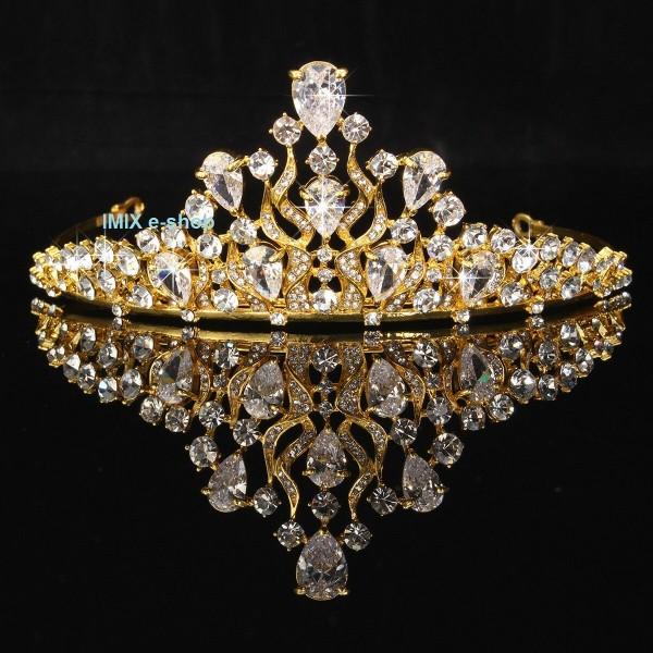 Korunka zlatá s velkými skleněnými zirkony kapky