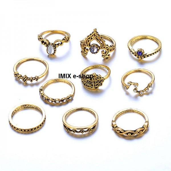 SET 10 kusů staro-zlatých prstýnků