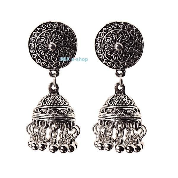 Náušnice Bollywood s patinou a zvonečkem č.BW01