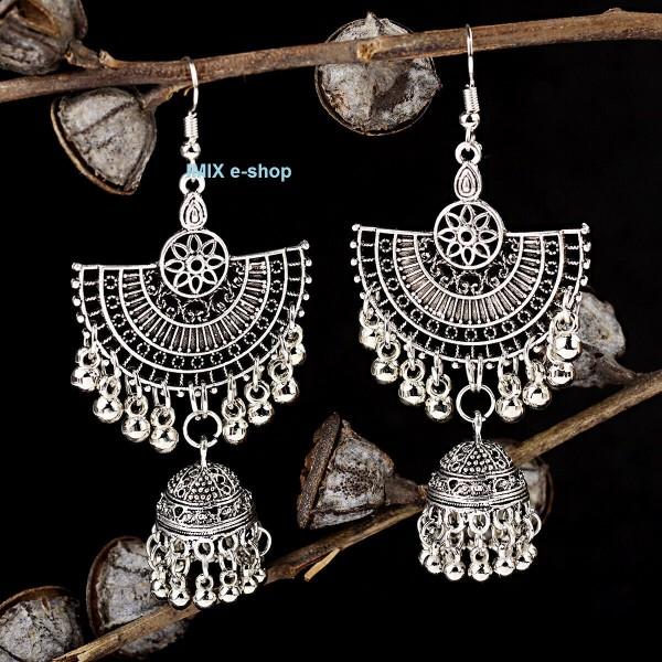 Náušnice Bollywood velké s patinou a zvonečkem č.BW04