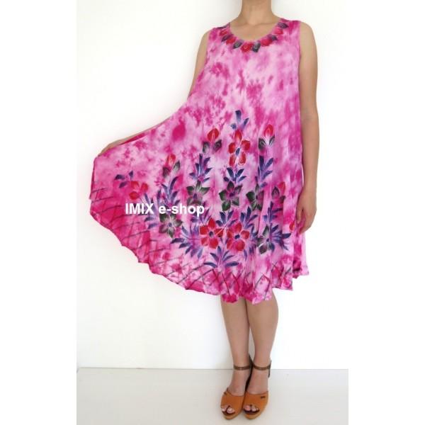 Dámské plážové batikované šaty malované Květinové