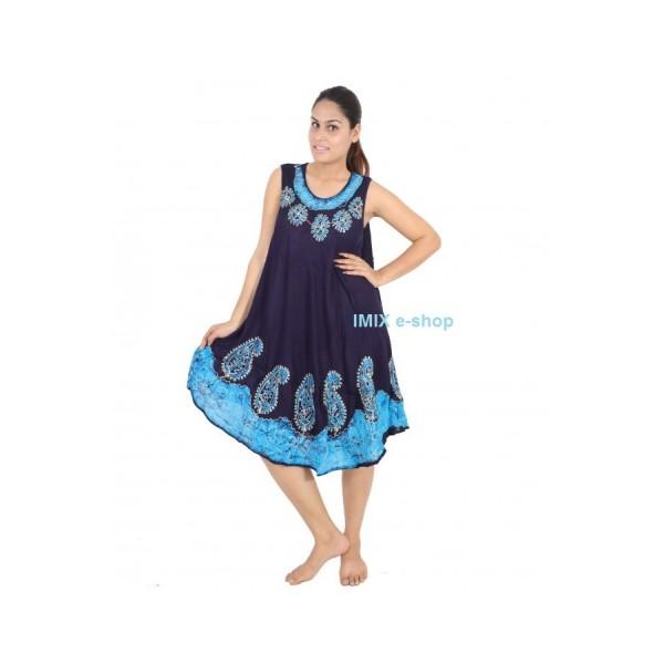 Etno batikované letní černé šaty volné na ramínka s výšivkou