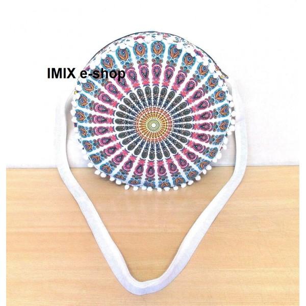 Textilní kruhová taška přes rameno s mandalou