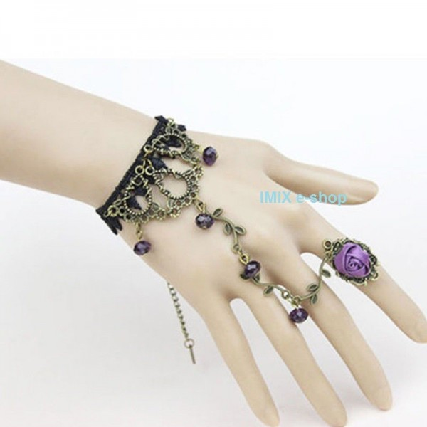 Krajkový náramek s prstýnkem, filigránem a korálky